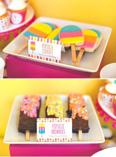 "Bright & Modern Popsicle Pool Party Birthday // Hostess with the Mostess® - popsicle cookies and popsicle brownies "" popsicle cookies and popsicle brownies The Effective Pic - Pool Party Cakes, Pool Party Decorations, Luau Party, Summer Birthday, First Birthday Parties, Birthday Party Themes, 2nd Birthday, Birthday Ideas, Sommer Pool Party"