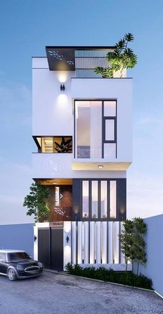 Architecture building - 39 new modern exterior design ideas for your house 15 Small House Design, Modern House Design, Facade Design, Exterior Design, Townhouse Designs, Narrow House, Facade House, Modern Exterior, Craftsman Exterior