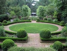 Co Co's Collection : Formal garden # structure # roses # boxwood This circular lawn feels restful The brick pathway call you closer Formal Garden Design, Garden Landscape Design, Landscape Architecture, Landscape Designs, Circular Garden Design, Landscape Plans, Architecture Design, Creative Landscape, Formal Gardens
