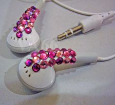 Hey, I found this really awesome Etsy listing at https://www.etsy.com/listing/85607916/bling-bling-studded-white-ear-buds-pinks