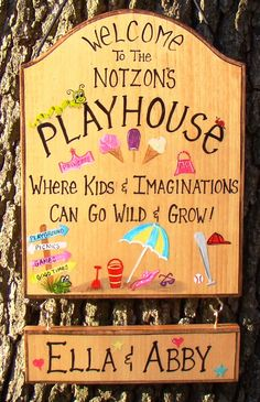 Custom Playhouse Sign For Kids Girls Boys Room Tree House Cabin Playground Camping  Tent Personalized Names Etc. Designs can be Changed by CreativeDesigns77 on Etsy