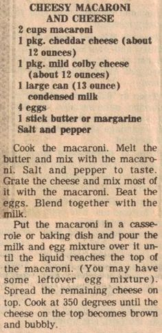 Cheesy Macaroni and Cheese (bake mac and cheese southern) Retro Recipes, Old Recipes, Vintage Recipes, Side Dish Recipes, Great Recipes, Cooking Recipes, Favorite Recipes, Blender Recipes, Al Dente