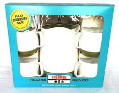 Retro Avocado Green Thermos Insulated Coffee Carafe and 4 Cups with Original Box