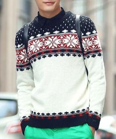 Slimming Round Neck Color Block Snowflake Jacquard Long Sleeve Sweater For Men