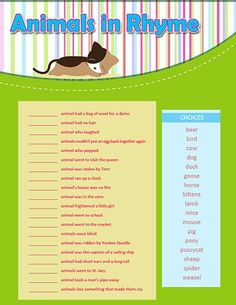 Animals In Rhyme Printable Baby Shower Game