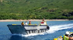 The tender boats - lifted on and off the ship's cargo area by crane.  The front cranks down to allow for wet beach landings in certain ports of call. #Aranui #Marquesas #adventure