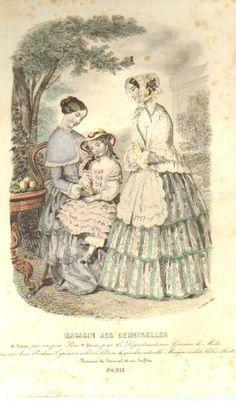 GRAVURE de MODE AUTHENTIQUE-P 30-MAGASIN DES DEMOISELLES-ROBES DENTELLE-1849