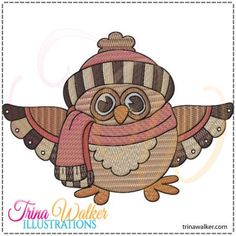 Winter Owl 1 Machine Embroidery Design http://trinawalker.com/shop/index.php?main_page=product_info&cPath=78_79&products_id=141