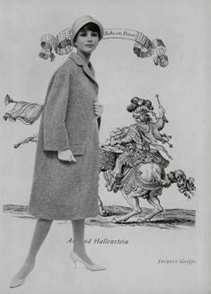 Model in heather grey coat designed by Jacques Griffe, fabric by Armand Hallenstein. Photo by Pottier, 1961
