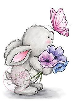 Wild Rose Studio Clear Stamp - Bunny And Butterfly