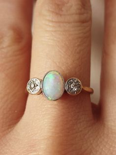 Vintage Art Deco Opal and Diamond Ring