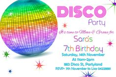 Girls printable Disco invitation  Rainbow.. by JadeADigitalInvites, $8.00