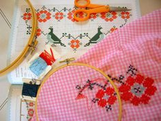 cross stitch on gingham