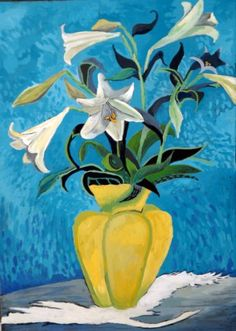 Lilies in a yellow vase Yellow Vase, Lilies, Gouache, Africa, Paintings, Display, Cards, Paint, Billboard