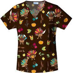 Turkey Time V-neck Top, Brown Stylish Scrubs, Scrubs Uniform, Turkey Time, Medical Scrubs, V Neck Tops, Floral Tops, Men Casual, Walmart, Scrub Life