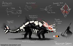 Triceratops Grimm (RWBY original Fanart) by Kalephrex on DeviantArt Monster Concept Art, Fantasy Monster, Monster Art, Creature Concept Art, Creature Design, Dark Souls, Rwby Grimm, Tokyo Ghoul, Hybrid Art