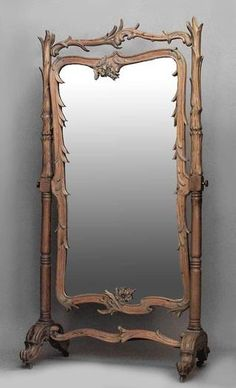 french art nouv stripped pine carved cheval mirror