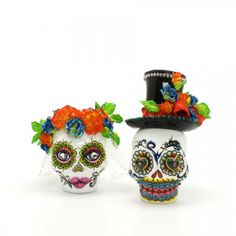 Day of the Dead wedding cake topper #Dia De Los Muertos #Day of the Dead