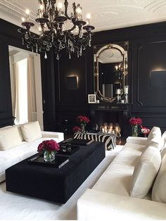 Living room decor ideas - Black and cream color scheme with black walls.  Interior /Martine Haddouche/