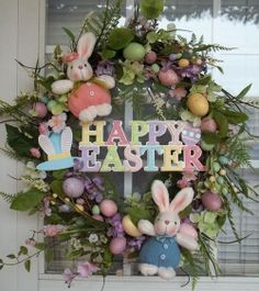 """""""HAPPY EASTER"""" -  XL Chic Easter Bunny Egg Wreath Decoration by DecorClassicFlorals, $149.95"""