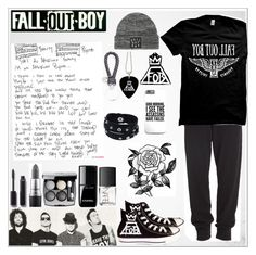 """""""Fall Out Boy (Read D)"""" by chemical-death ❤ liked on Polyvore featuring Converse, Donna Karan, Vance Co., Bottega Veneta, Chanel, MAC Cosmetics, NARS Cosmetics, Forever 21, black and rock"""