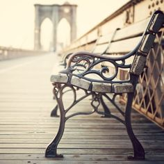 New York Art, Bench on Brooklyn Bridge, NYC Photography, Urban,... (€28) ❤ liked on Polyvore featuring backgrounds, pictures, photos, places and pics