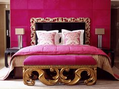 princess bedroom idea hot pink bedroom accent wall pink bedding ideas pink accent table cushion chair gold hotel 3 steps to a girly bedroom shop room ideas houzz Pink Room, Interior, Princess Bedroom, Gold Bedroom, Pink Bedroom, Princess Bedrooms, Home Decor, Dreamy Bedrooms, Hot Pink Bedrooms