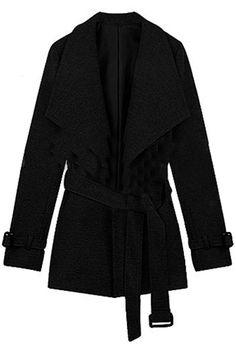 ROMWE | Big Lapel Fitted Belt Black Coat, The Latest Street Fashion