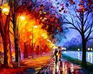 In dit schilderij is duidelijk een warm-koud contrast te zien. De warme kleuren rood, geel en oranje aan de ene kant en de koude kleuren blauw, paars en groen aan de andere kant zorgen voor een mooi contrast. Het lijkt wel een soort dag en nacht naast elkaar.