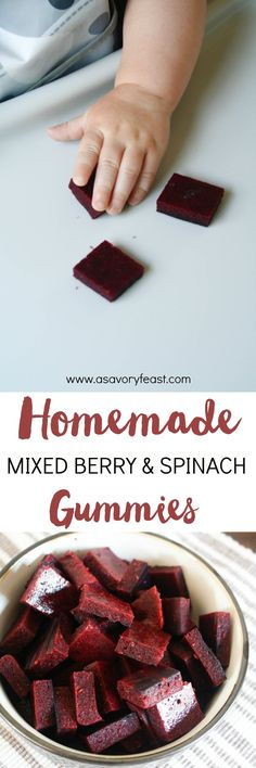 Homemade Mixed Berry & Spinach Gummies is part of snack mix recipes Healthy Kids - A healthy snack that is perfect for kids, or the kid in you! These Homemade Mixed Berry & Spinach Gummies are sugar free and packed with fruits and veggies Vegetarian Meals For Kids, Healthy Snacks For Kids, Vegetarian Recipes, Healthy Recipes, Vegetarian Cooking, Healthy Sweets, Healthy Food, Baby Snacks, Fruit Snacks