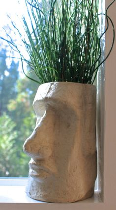 Our Easter Island Head Planter is made out of ceramic. It has a water drainage hole on the bottom Perfect as a housewarming gift or as a decoration in your garden. There are 2 finishes you can choose from Mate and Glossy 7 inches High 5 inches depth 5 i Face Planters, Garden Planters, Indoor Garden, Indoor Plants, Planters Shade, Decoration Plante, Easter Island, Plant Decor, Yard Art