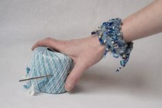 Jeans bracelet / cuff decorated with many hanging beads by annawoz on etsy