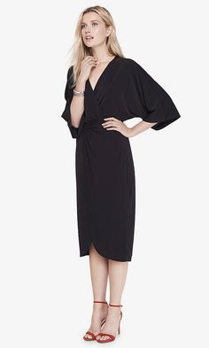 BLACK KIMONO MIDI DRESS | Express-Bridesmaids?  Classy with a lot of rewear value and good for lots of body types.
