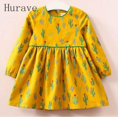Hurave Girls Dress 2017 Autumn Brand Baby Girls Long Sleeve Cute O neck Kids Print Plant Children Clothing Dress Girls Dresses Sewing, Girls Formal Dresses, Little Girl Dresses, Fall Dresses, Kids Clothing Brands, Children Clothing, Dress Outfits, Kids Outfits, Baby Frocks Designs