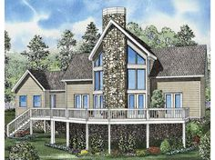 Eplans Contemporary-Modern House Plan - Expansive Rear Deck with Magnificent Windows - 1408 Square Feet and 2 Bedrooms from Eplans - House Plan Code HWEPL57902
