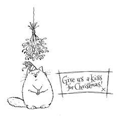 Fat Cat Mistletoe Free Digital Stamp
