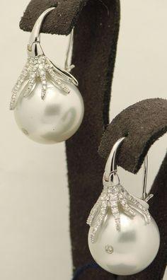 South Sea Pearl and Diamond Earrings...