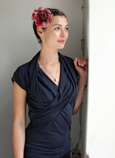 drappiertes oberteil in dunkelblau von unanova®  auf DaWanda.com