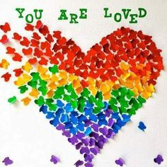 The Dynamic-lesbos. — You are loved. Rainbow Heart, Rainbow Pride, Art For Kids, Crafts For Kids, Pride Week, School Displays, Library Displays, Classroom Displays, Classroom Ideas