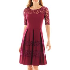 """<p>Lace details instantly enhance the day-to-night style of our 3/4-sleeve fit-and-flare dress.</p><div style=""""page-break-after: always"""