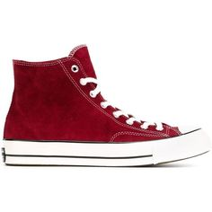 Converse Chuck Taylor All Star Hi-Top Sneakers ($118) ❤ liked on Polyvore featuring shoes, sneakers, red, converse, star sneakers, suede shoes, red suede sneakers, high top shoes and converse shoes