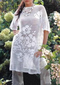 Crochet Tunic Pattern - Tunic Dress - Filet Crochet