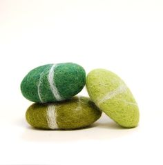 Felted Stones, Green stones wool ecofriendly decor paperweight