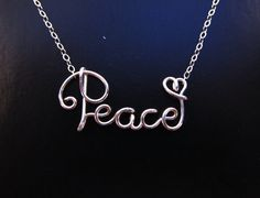 Sterling Silver Wire Peace Necklace, Peace Necklace, Silver Peace Necklace, Wire Word Necklace. Cursive Wire Name Necklace