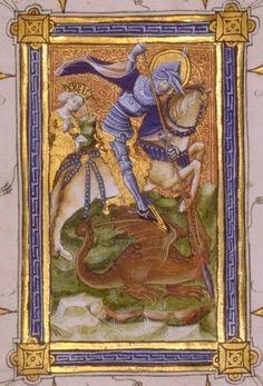 15th century (ca.1415) Netherlands  Université de Liège, Belgium  ms. Wittert 35: Livre d'heures en néerlandais   fol. 4v - St George slaying a dragon    http://www.libnet.ulg.ac.be/enlumin/enl01.htm