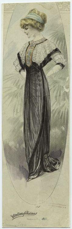 [Woman in long black dress, ca. 1911.]