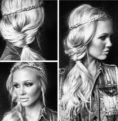 loving this boho hairstyle My Hairstyle, Boho Hairstyles, Pretty Hairstyles, Wedding Hairstyles, Love Hair, Great Hair, Gorgeous Hair, Corte Y Color, Braut Make-up