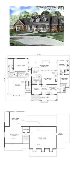 Country House Plan 61377 | Total Living Area: 2373 sq. ft., 4 bedrooms and 3 bathrooms. #countryhome