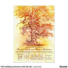 "Fall wedding invitation with old oak tree 5"" x 7"" invitation card"