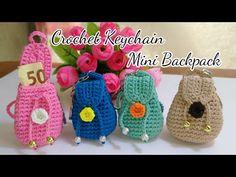 Crochet Keychain, Mini Backpack, Eid, Envelope, Backpacks, Shapes, Key Chain, Tiffany, Flowers